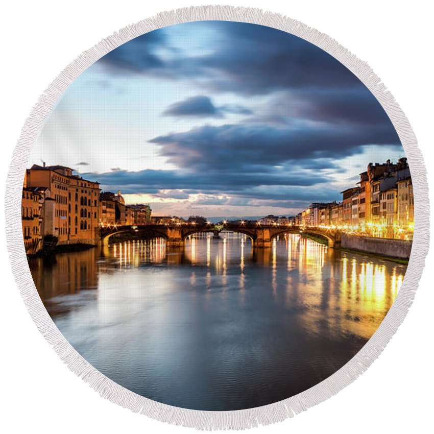 Florence Round Beach Towel featuring the photograph Flowing by Giuseppe Torre