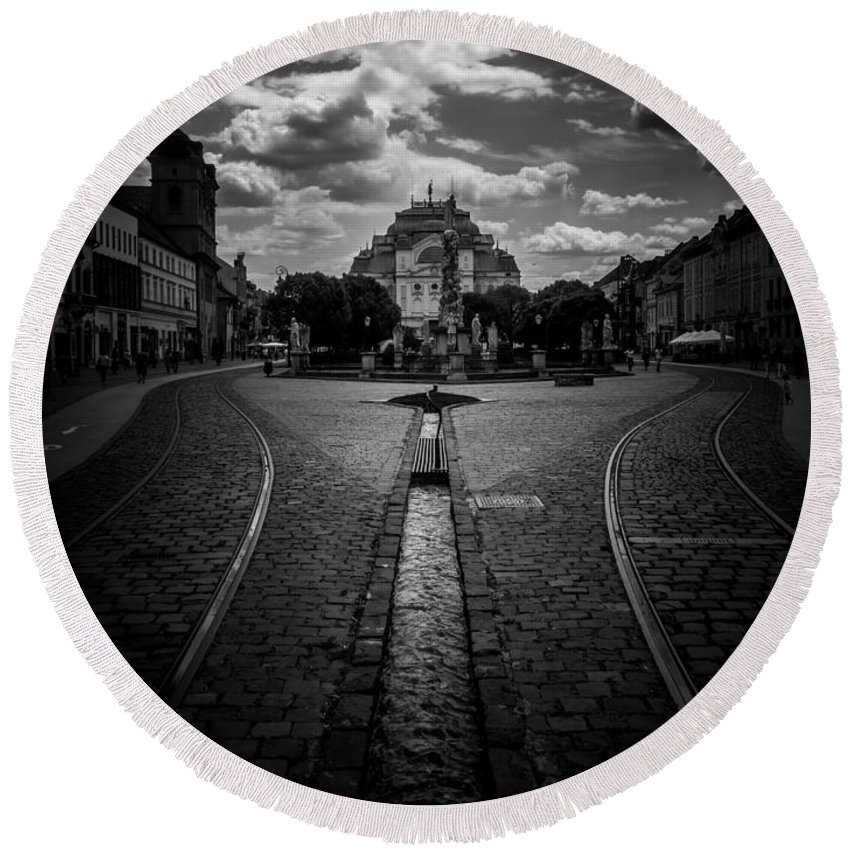 Kosice Round Beach Towel featuring the photograph Flowing Street Of Kosice by Kaleidoscopik Photography