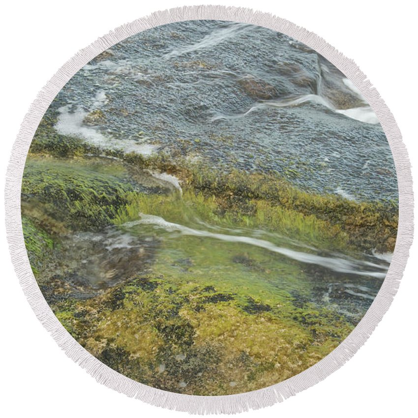 Water Round Beach Towel featuring the photograph Flowing Water by Michael Peychich