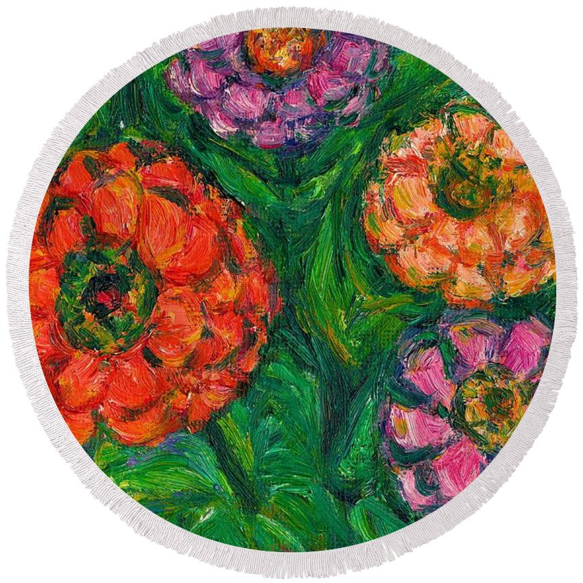 Flowers Round Beach Towel featuring the painting Flowing Zinnias by Kendall Kessler