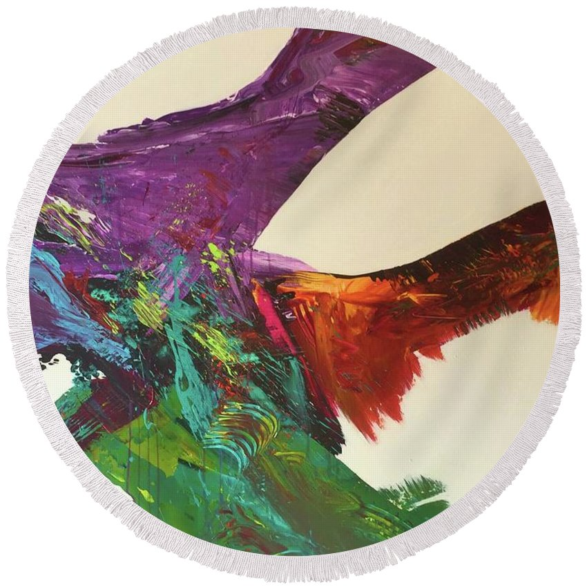 Fluid Abstract Painting John Cammarano Round Beach Towel featuring the painting Fluid#1.2 by John Cammarano