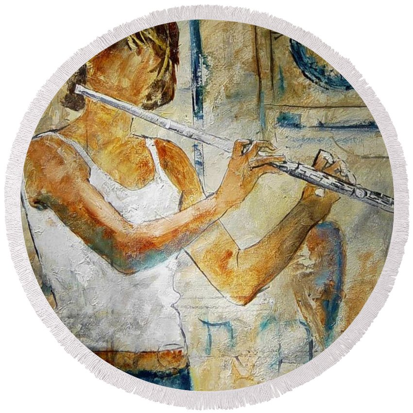 Music Round Beach Towel featuring the painting Flutist by Pol Ledent