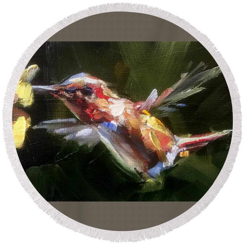 Hummingbird Round Beach Towel featuring the painting Flutter by Gary Bruton