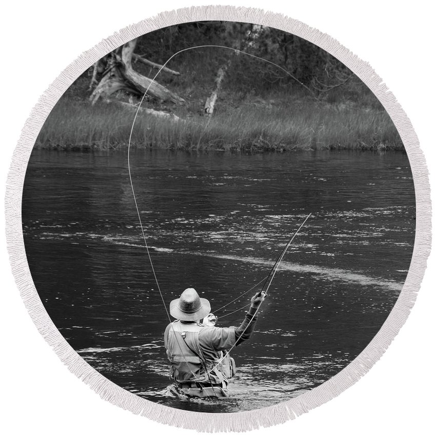Fly Fishing Round Beach Towel featuring the photograph Fly Fishing In Black And White by Teresa Otto