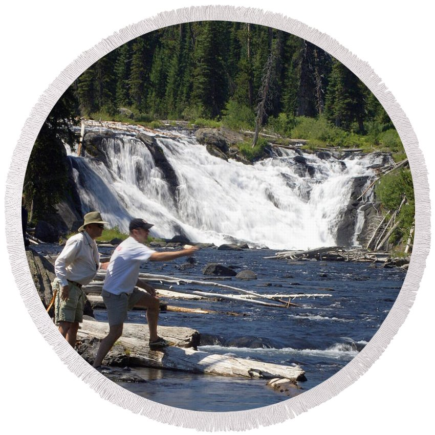 Fly Fishing Round Beach Towel featuring the photograph Fly Fishing The Lewis River by Marty Koch