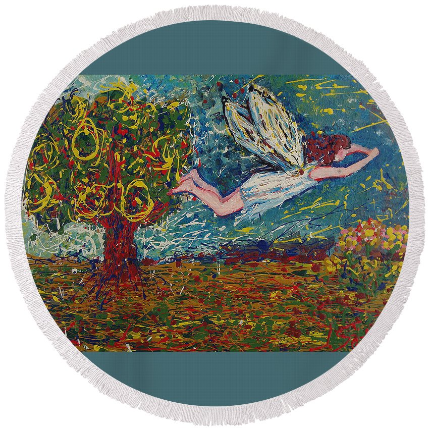 Landscape Round Beach Towel featuring the painting Flying Along With The Spirit by Ioulia Sotiriou