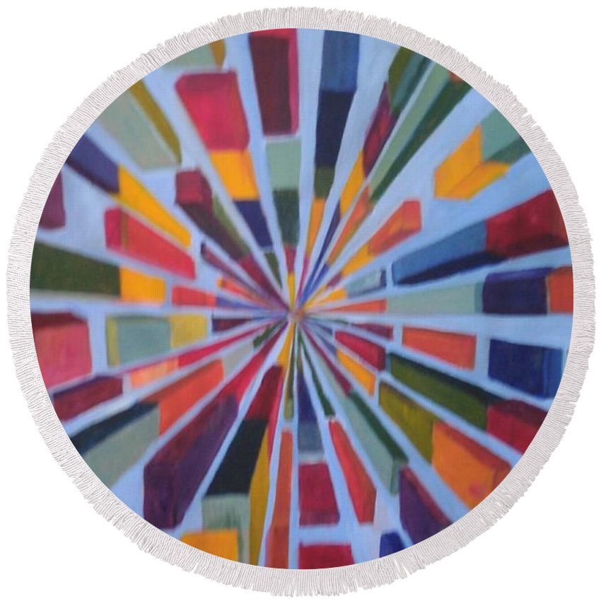 Non Representational Art Round Beach Towel featuring the painting Flying box by Andrew Johnson