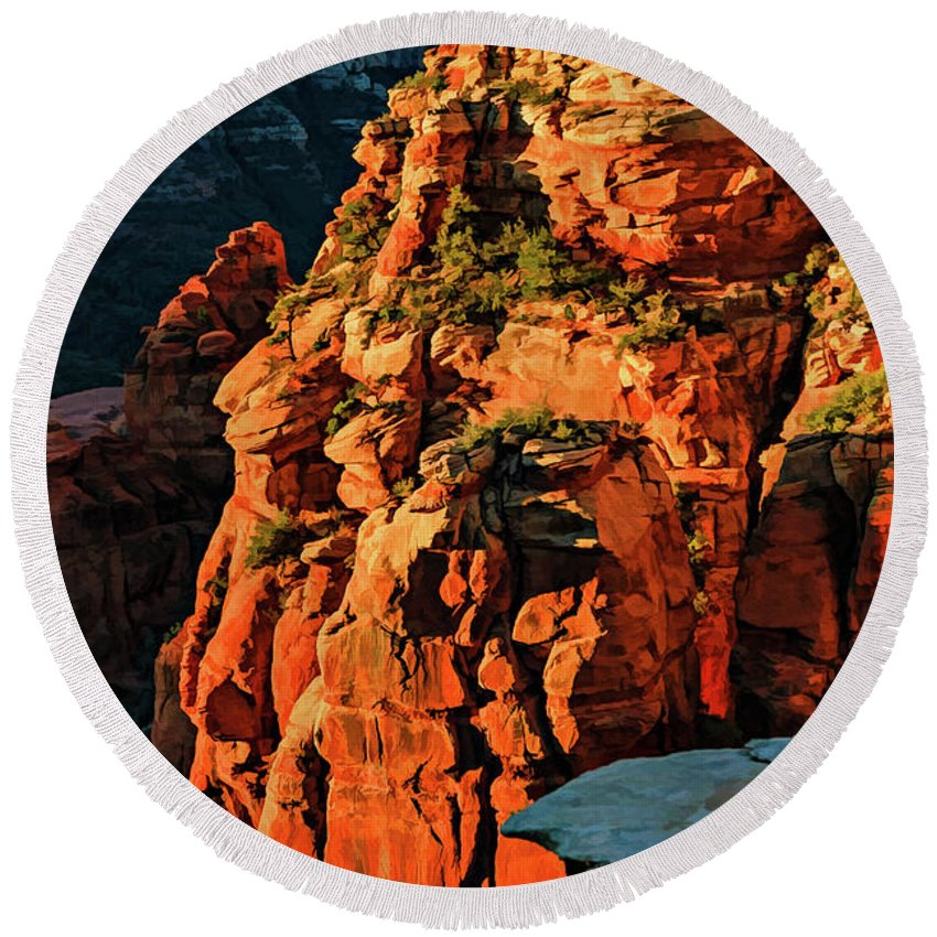 Arizona Round Beach Towel featuring the photograph Flying Buttress 06-034 by Scott McAllister