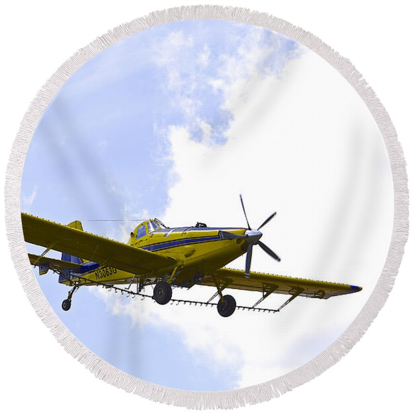 Airplane Round Beach Towel featuring the photograph Flying By Wire 2 Of 6 by Charlie Brock