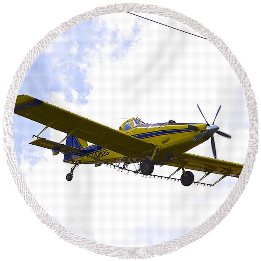 Airplane Round Beach Towel featuring the photograph Flying By Wire 3 Of 6 by Charlie Brock