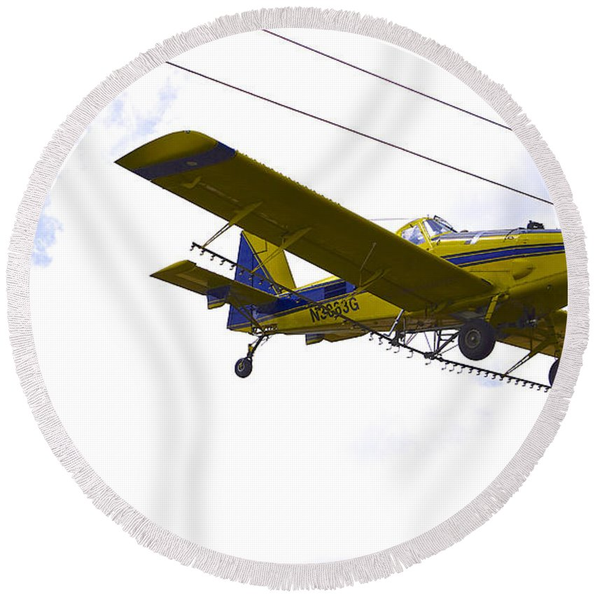 Airplane Round Beach Towel featuring the photograph Flying By Wire 4 Of 6 by Charlie Brock