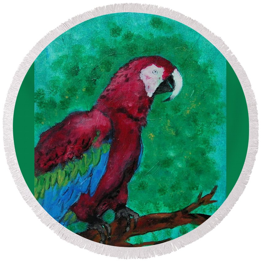 Parrot Round Beach Towel featuring the painting Flying Colors by Cori Solomon