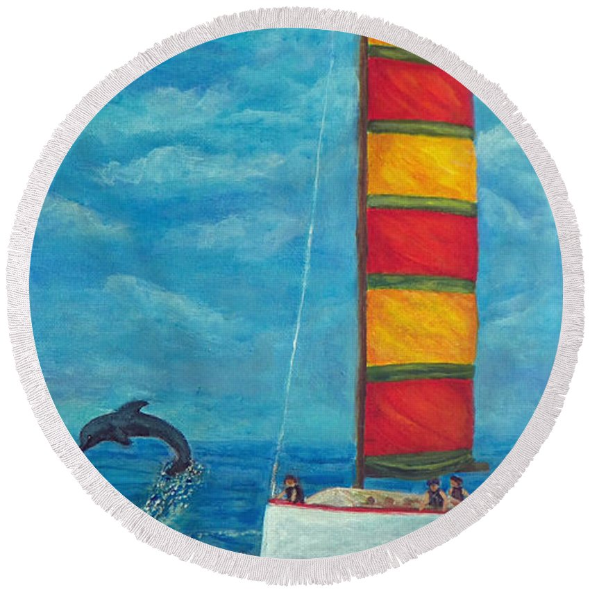 Sail Round Beach Towel featuring the painting Flying Dolphin by Alina Martinez-beatriz