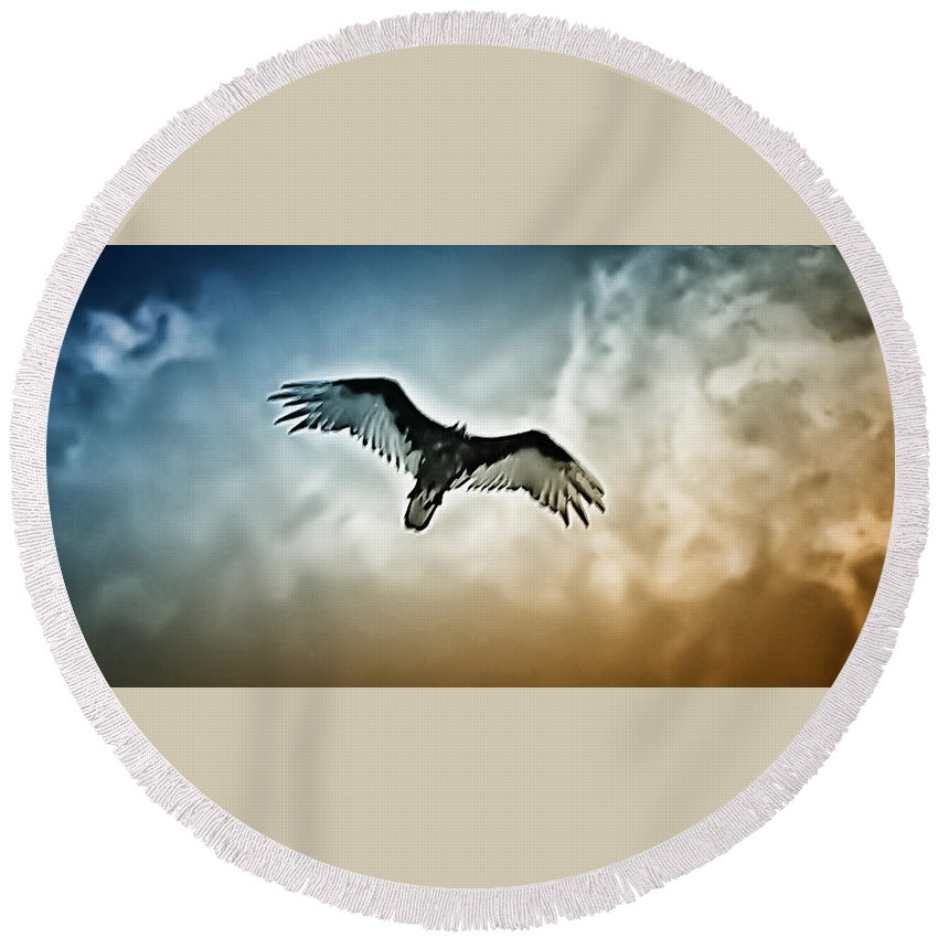 Falcon Round Beach Towel featuring the photograph Flying Falcon by Bill Cannon