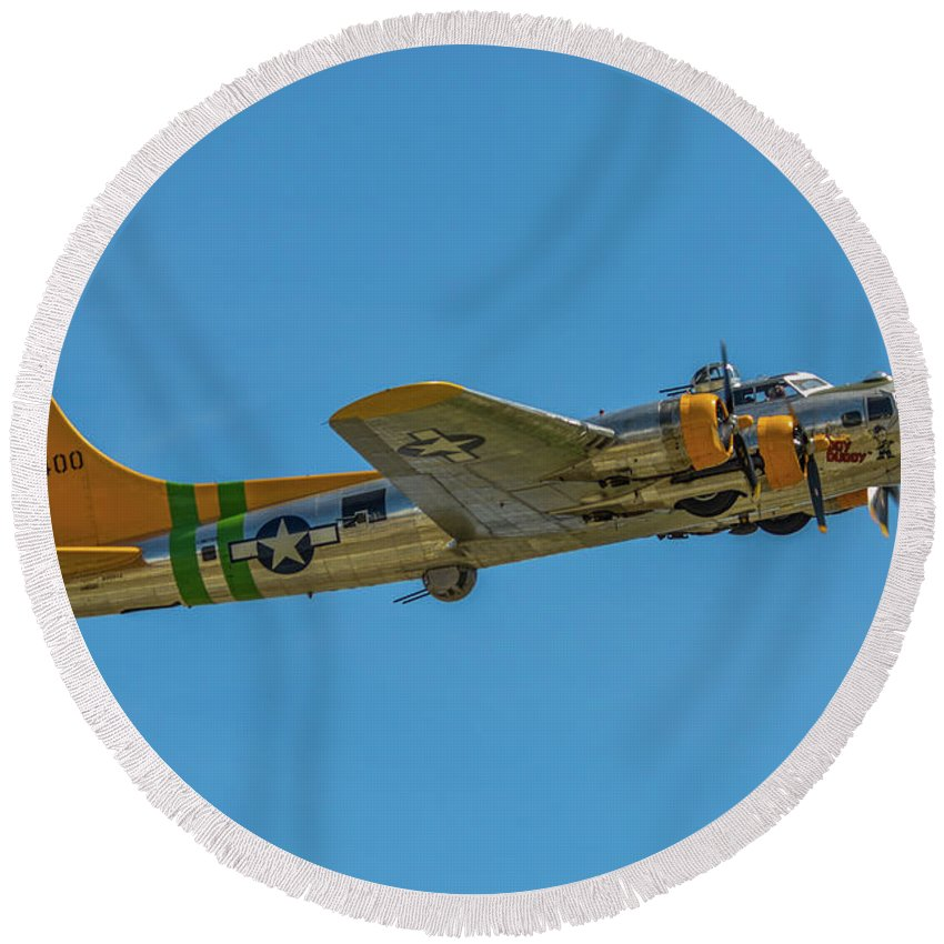 2014 Round Beach Towel featuring the photograph Flying Fortress Climbing by Tommy Anderson