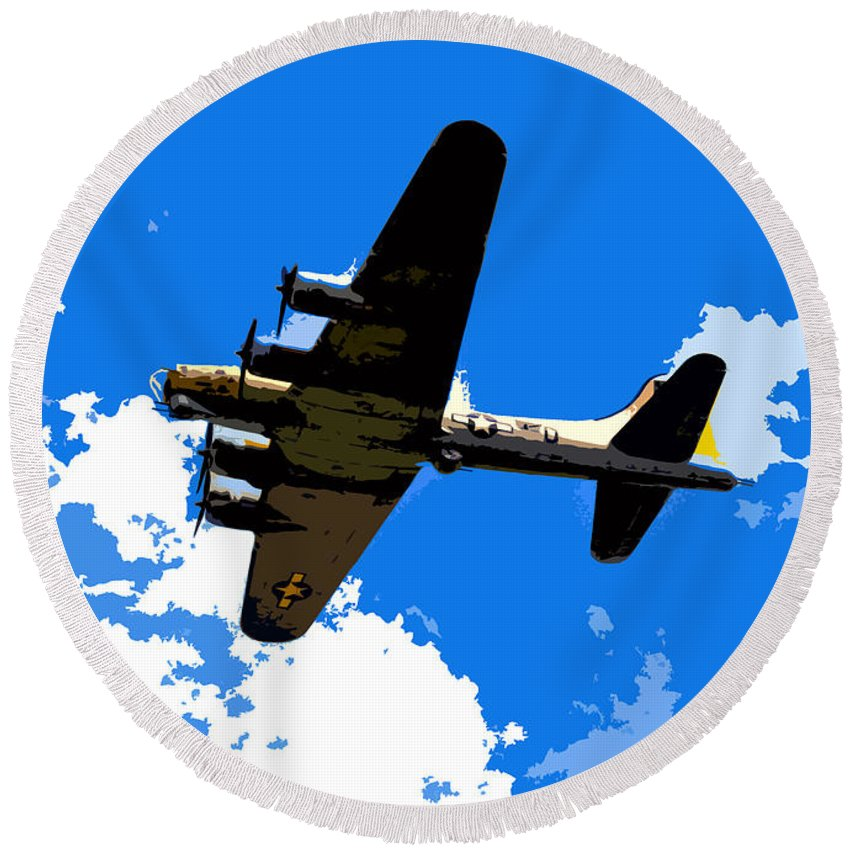 Flying Fortress Round Beach Towel featuring the photograph Flying Fortress by David Lee Thompson
