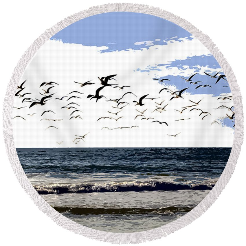 Beach Round Beach Towel featuring the painting Flying Gulls by David Lee Thompson