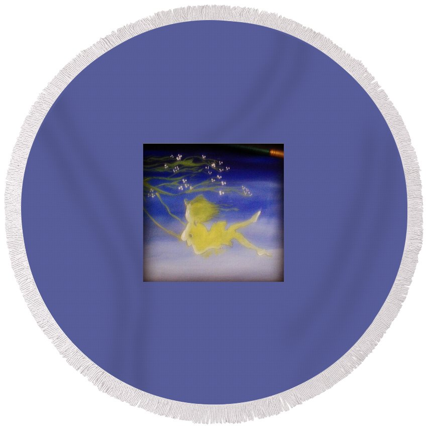 Acrylic Artwork Round Beach Towel featuring the painting Flying In The Air by Damini Sharma