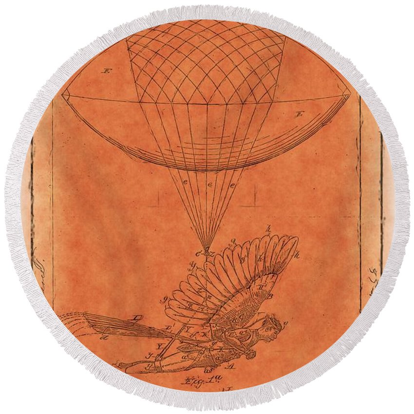 Orange Round Beach Towel featuring the photograph Flying Machine - 01c02 by Variance Collections