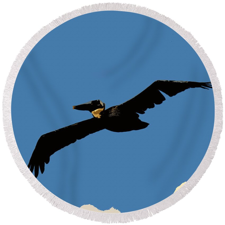 Pelican Round Beach Towel featuring the photograph Flying Pelican by David Lee Thompson