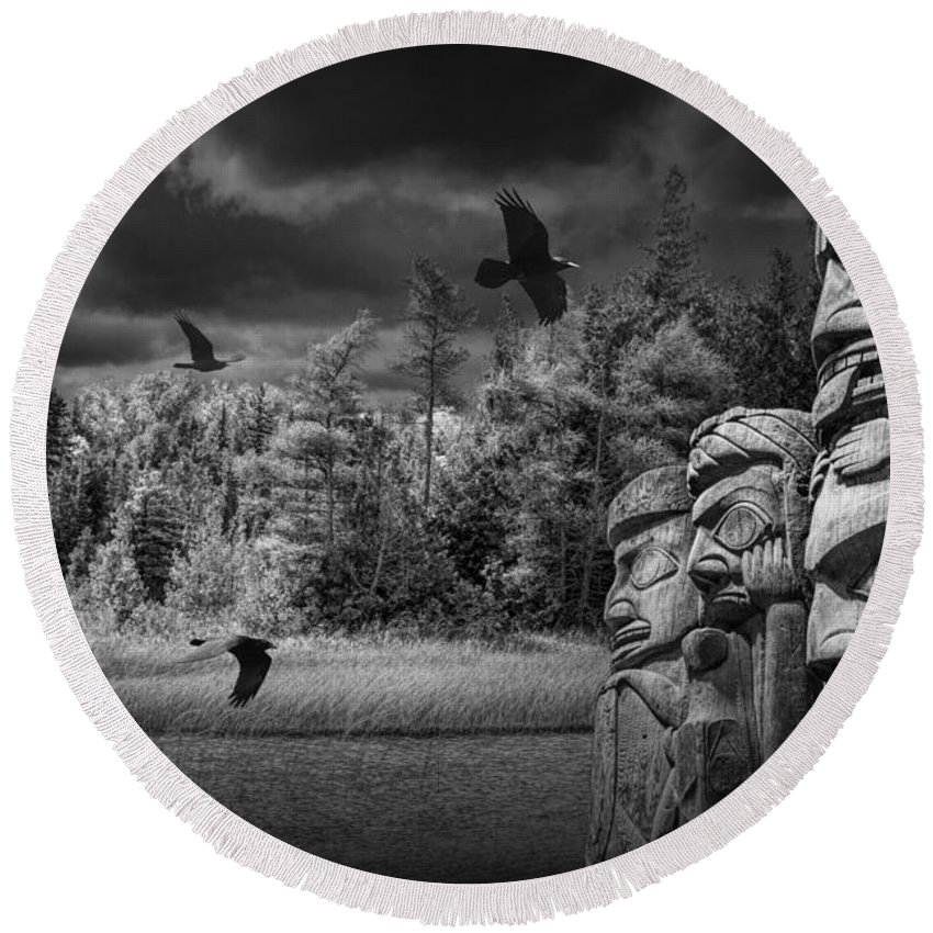 Totem Round Beach Towel featuring the photograph Flying Ravens And Totem Poles In Black And White by Randall Nyhof