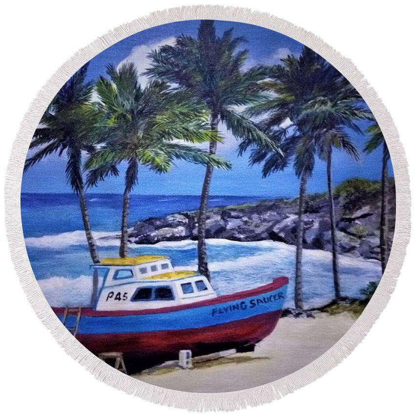 Barbados Round Beach Towel featuring the painting Flying Saucer by Mark Phillips