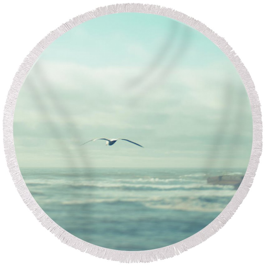 Seagull Round Beach Towel featuring the photograph Flying Seagull by Manuela Durson