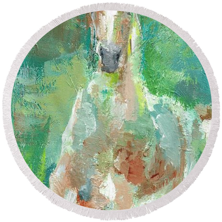 Horse Round Beach Towel featuring the painting Foal With Shades Of Green by Frances Marino
