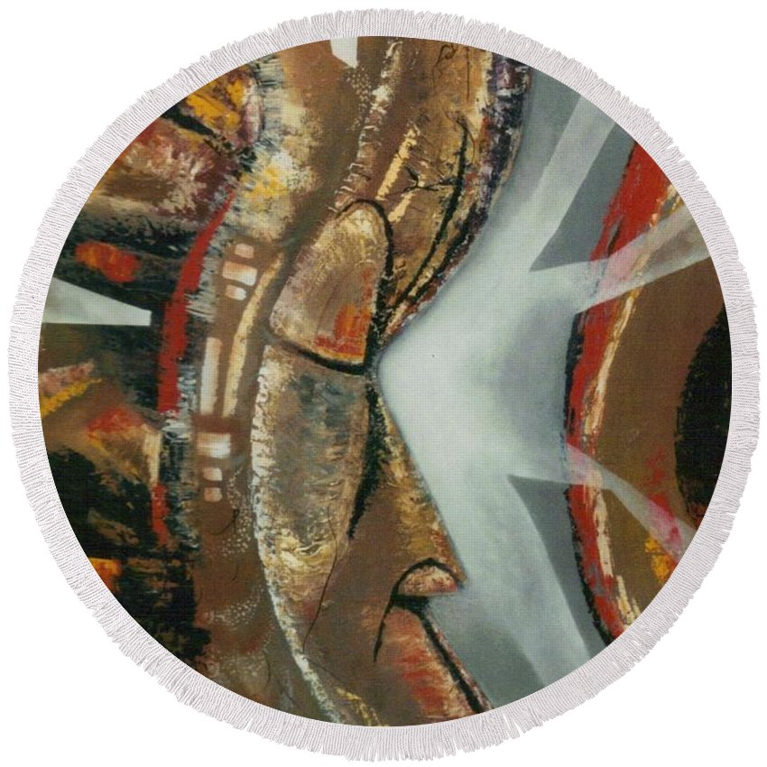 African Mask Round Beach Towel featuring the painting Focus And Determination by Hasaan Kirkland
