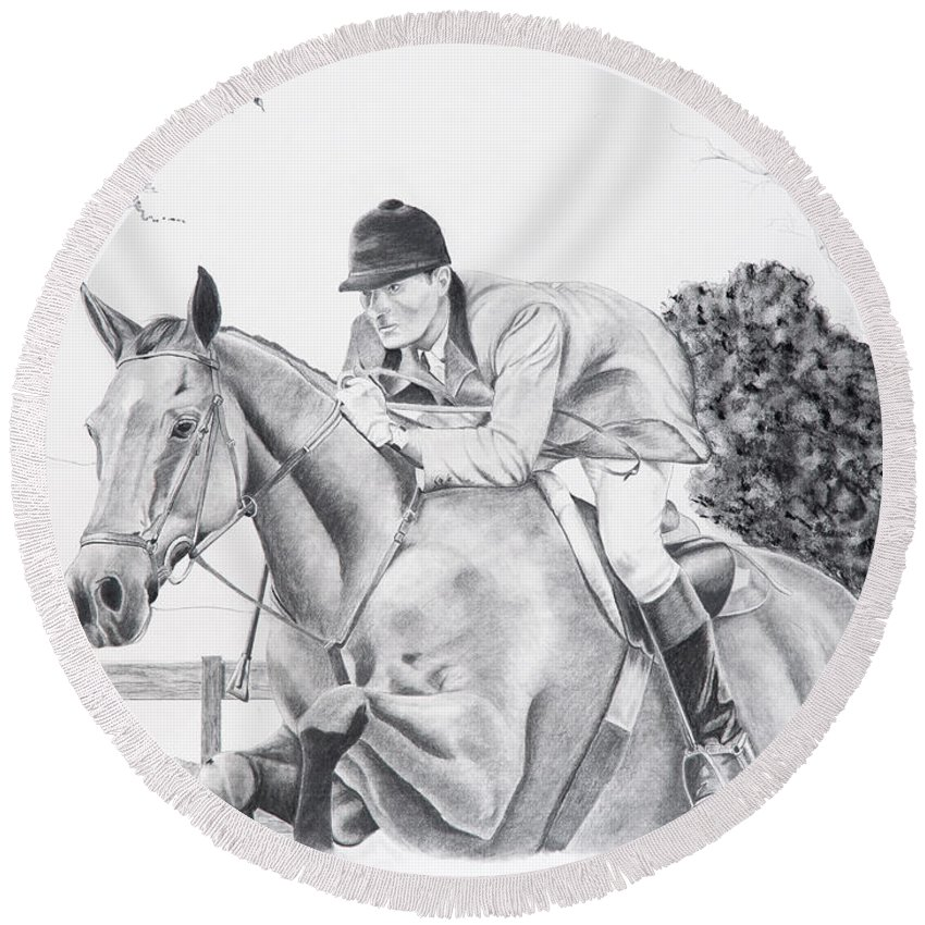 Dressage Round Beach Towel featuring the drawing Focused by Joette Snyder