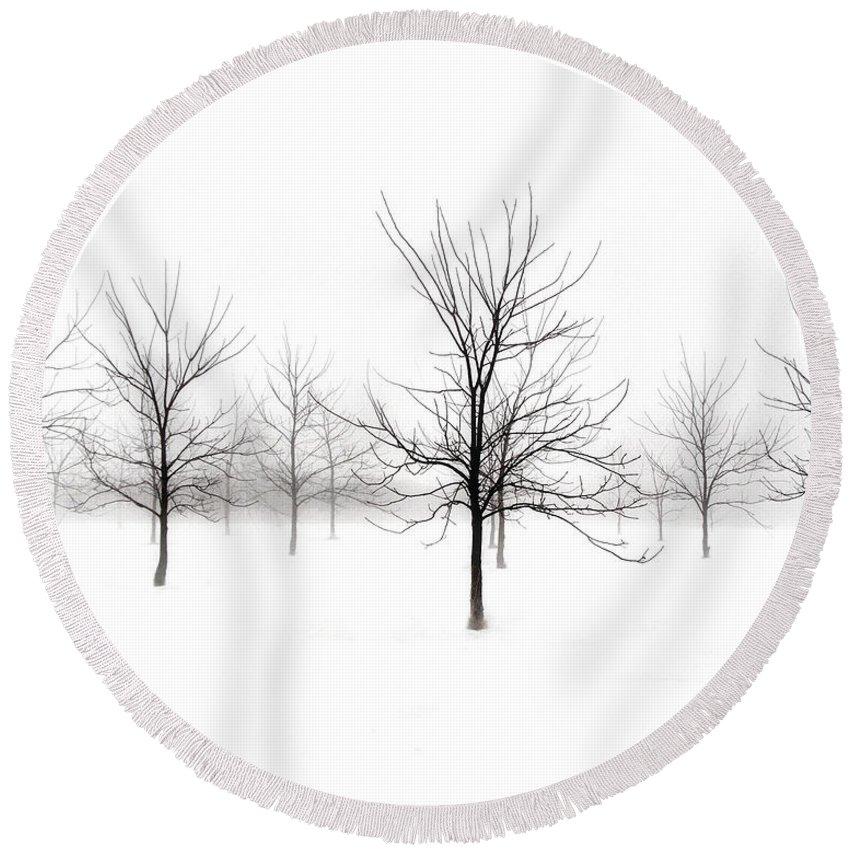 Fog And Winter Black Walnut Trees Round Beach Towel