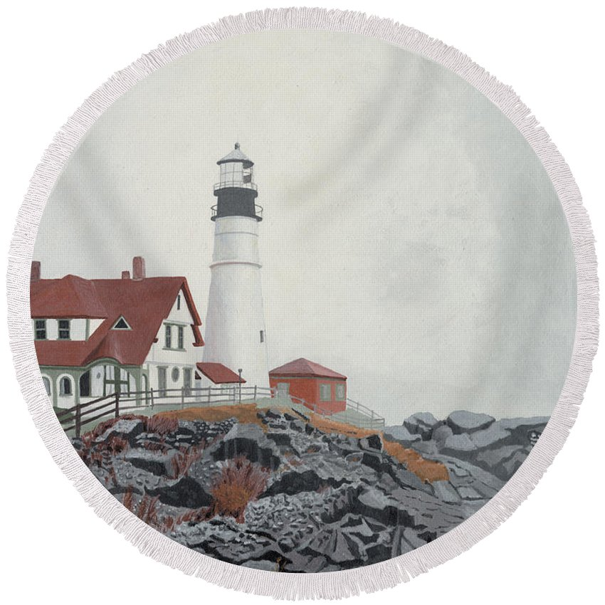 Lighthouse Round Beach Towel featuring the painting Fog Approaching Portland Head Light by Dominic White