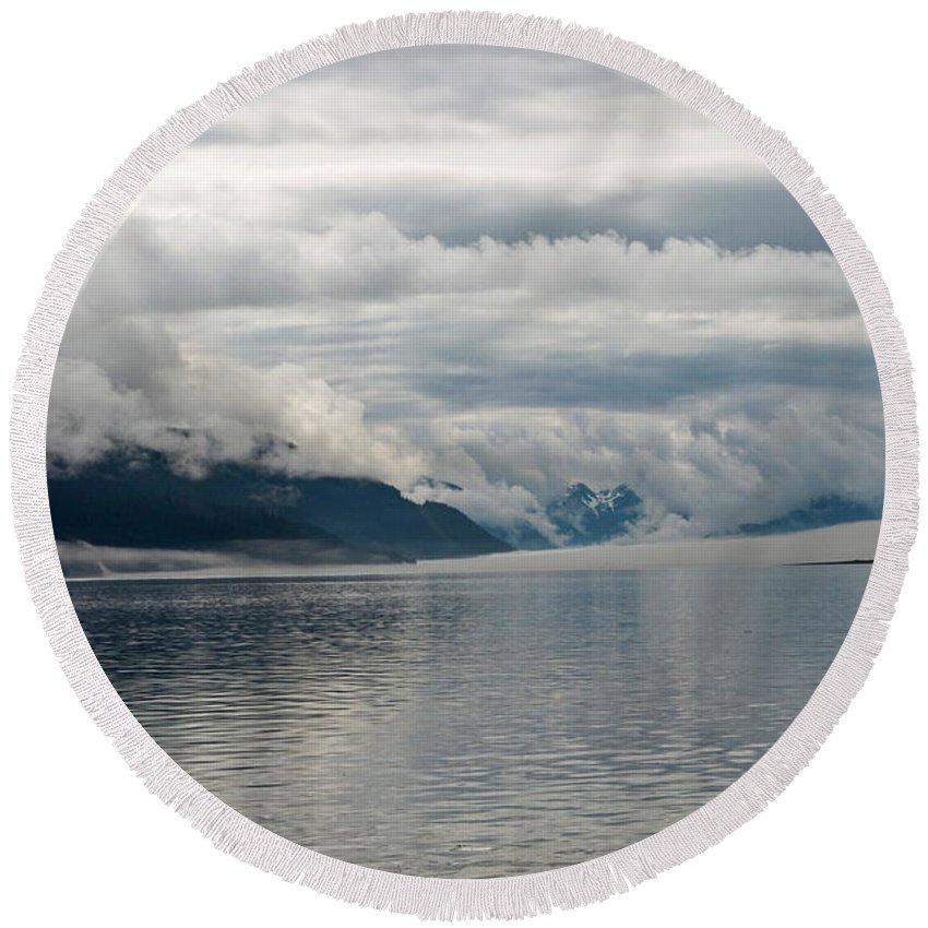 Alaska Round Beach Towel featuring the photograph Fog Bank In Gastineau Channel by Cathy Mahnke