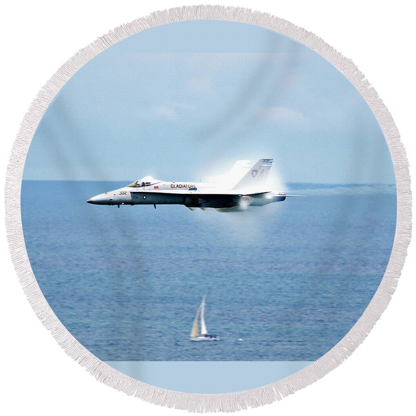 Fighter Round Beach Towel featuring the photograph Fog Building Hornet by Rick Selin