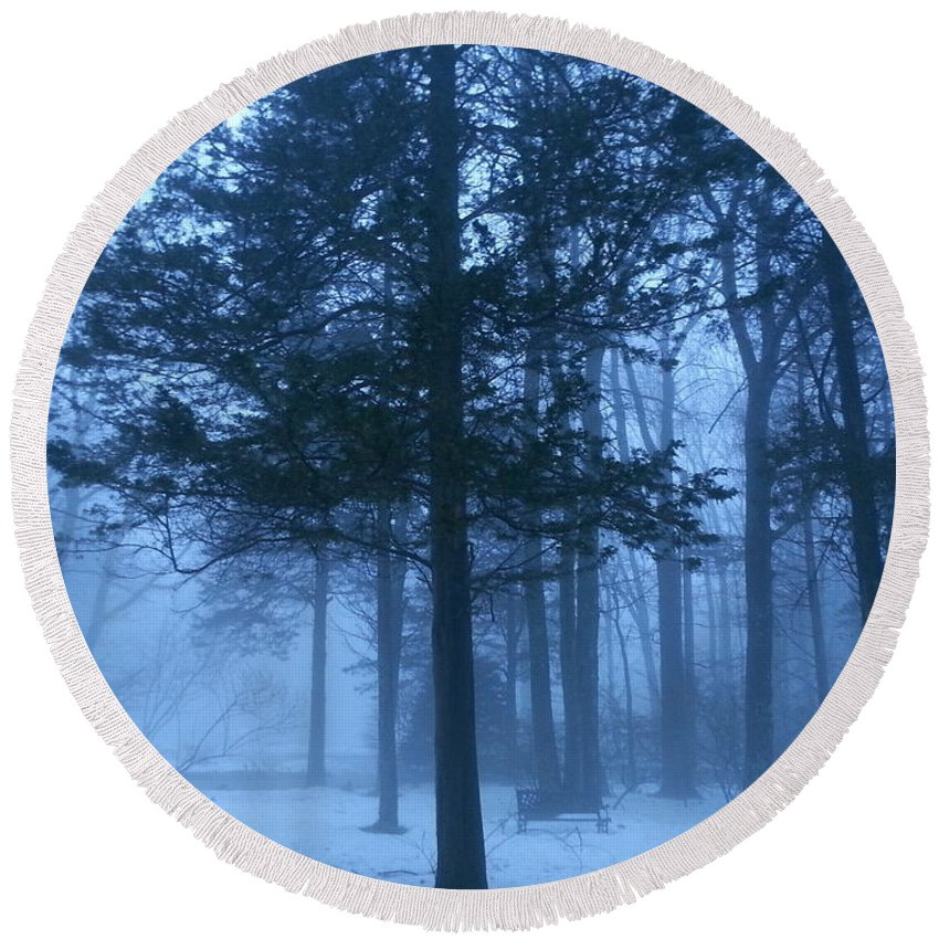 Landscape Round Beach Towel featuring the photograph Fog by Dani McEvoy