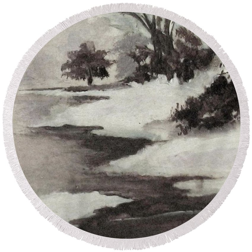 Winter Scene Round Beach Towel featuring the painting Early Morning Fog by Hazel Holland
