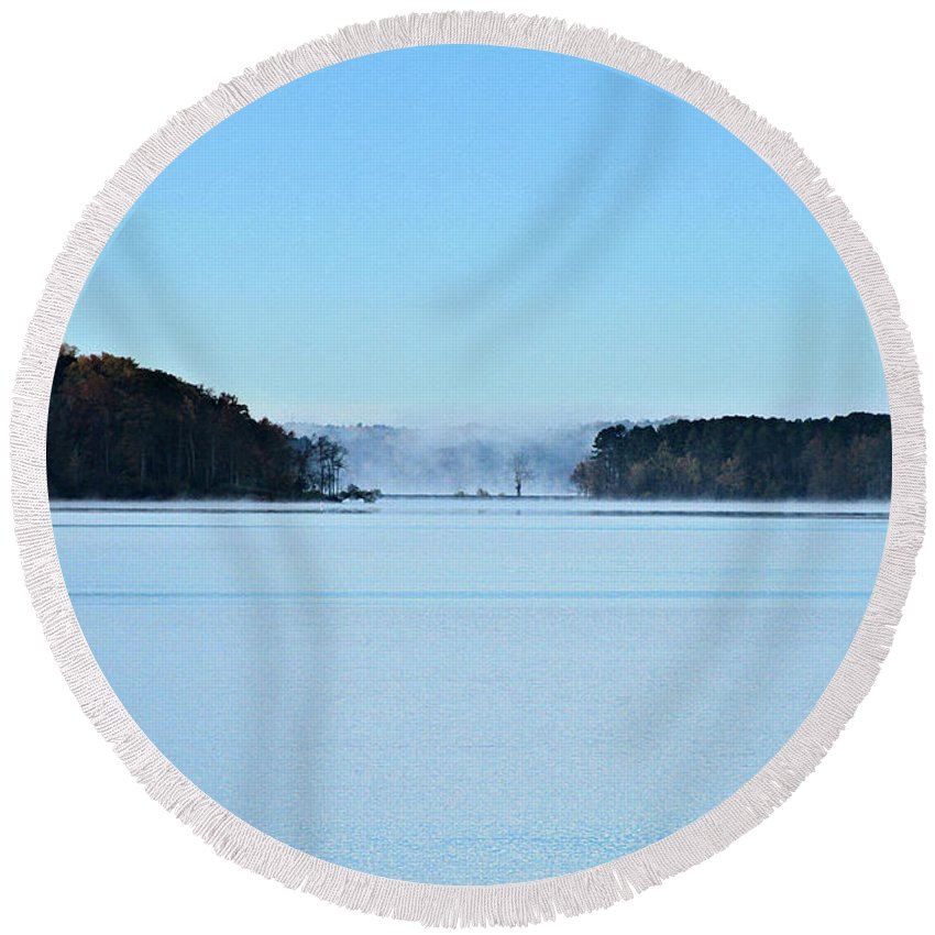 Lake Round Beach Towel featuring the photograph Fog In The Distance by John Lewis