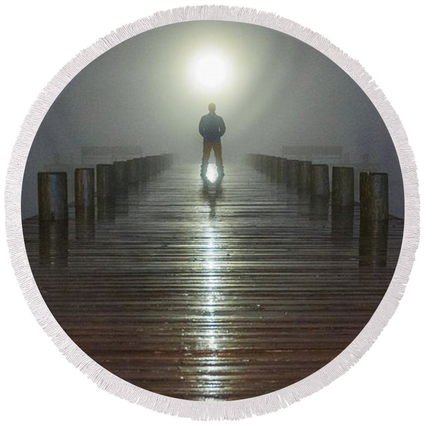 New Jersey Round Beach Towel featuring the photograph Fog Man by Kristopher Schoenleber