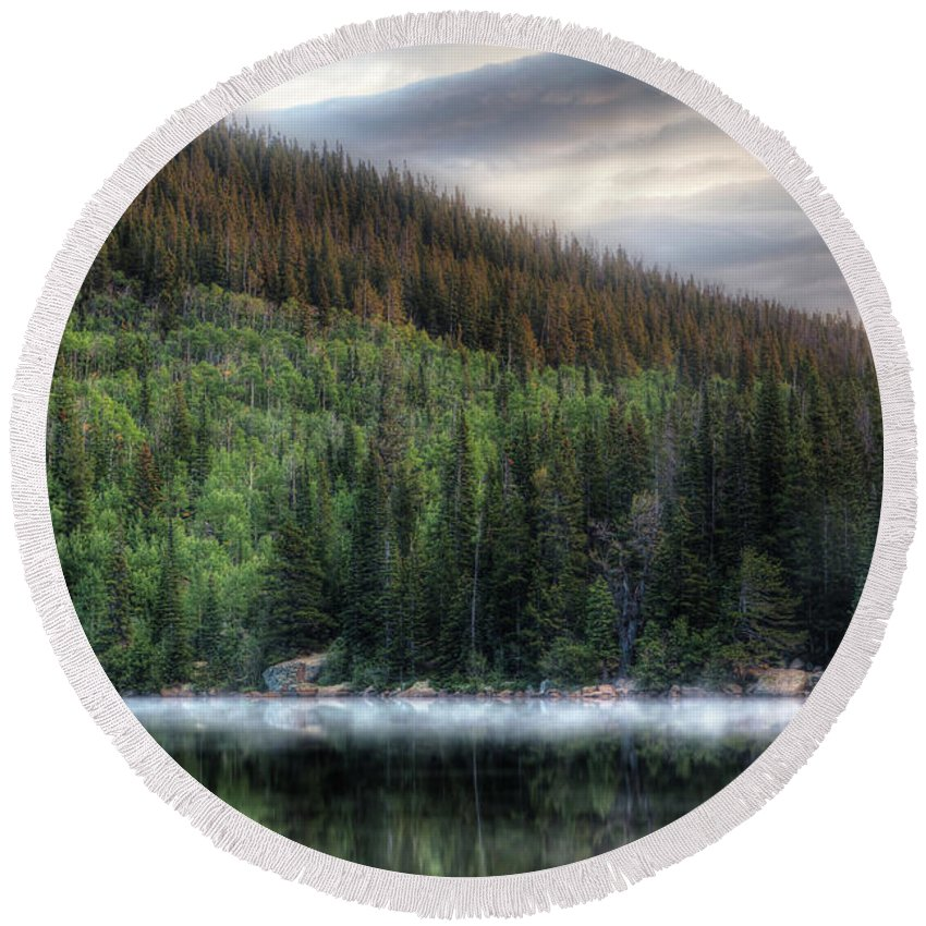 Bearlake Round Beach Towel featuring the photograph Fog On Bear Lake by Jeff Bord