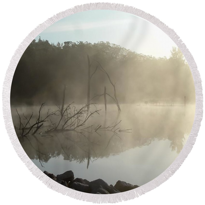 Fog On The Lake Round Beach Towel featuring the photograph Fog On The Lake by Cynthia Woods
