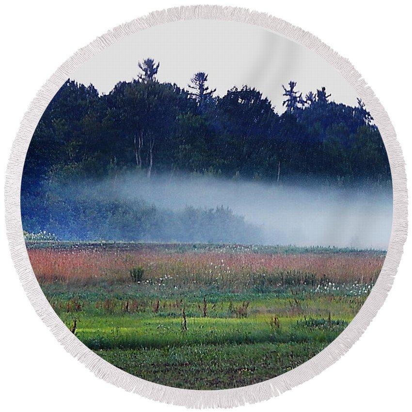 Landscape In Maine Round Beach Towel featuring the photograph Fog Rolls In by Expressionistart studio Priscilla Batzell