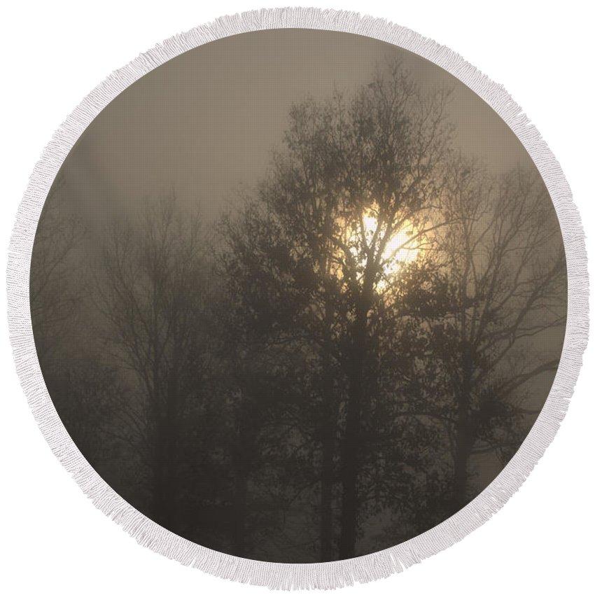 Morning Fog Round Beach Towel featuring the photograph Fog Shine by J R Seymour