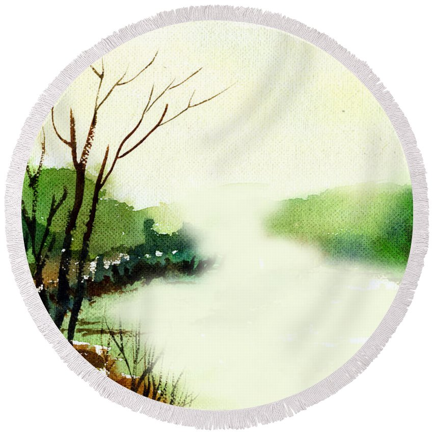 Water Color Round Beach Towel featuring the painting Fog1 by Anil Nene