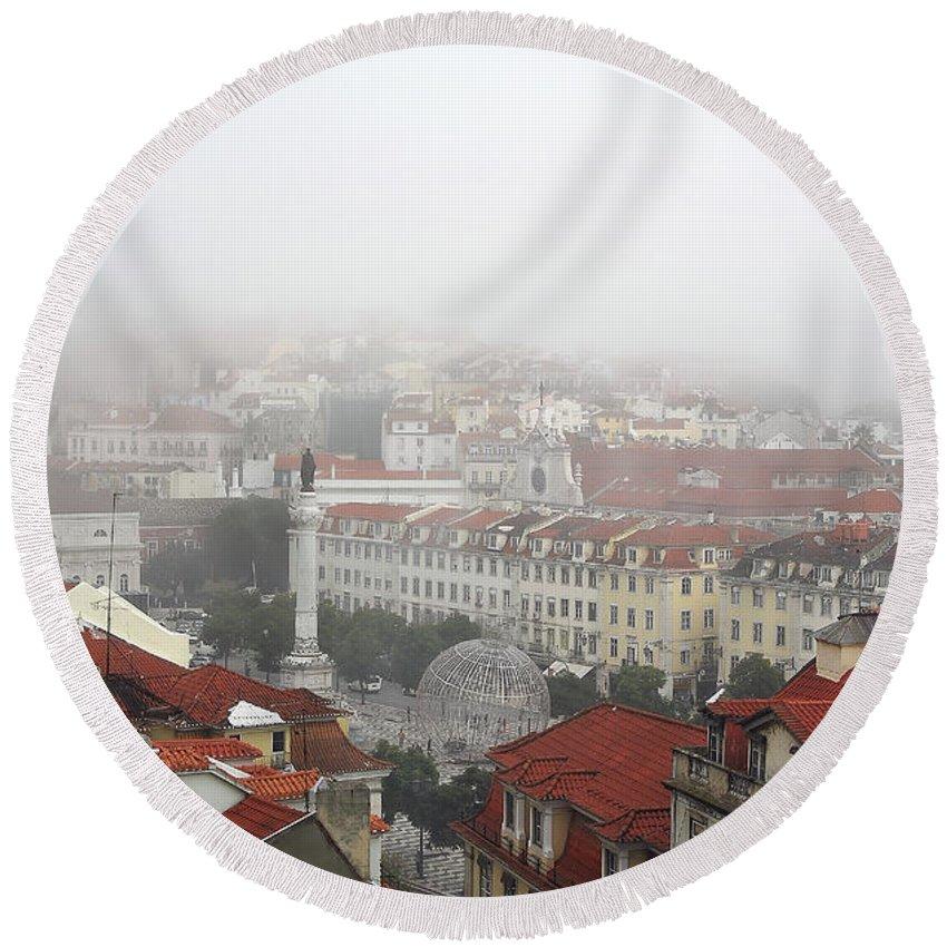 Street Round Beach Towel featuring the digital art Foggy Day At Lisbon. Portugal by Carlos Perez Muley