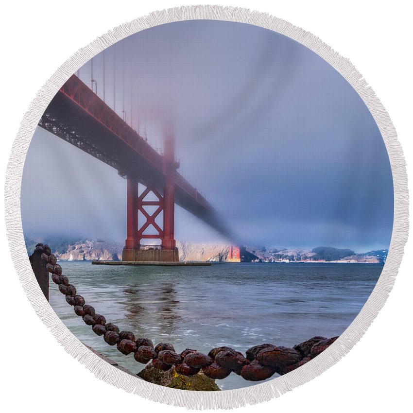 Golden Gate Bridge Round Beach Towel featuring the photograph Foggy Day At The Golden Gate Bridge by Jerry Fornarotto