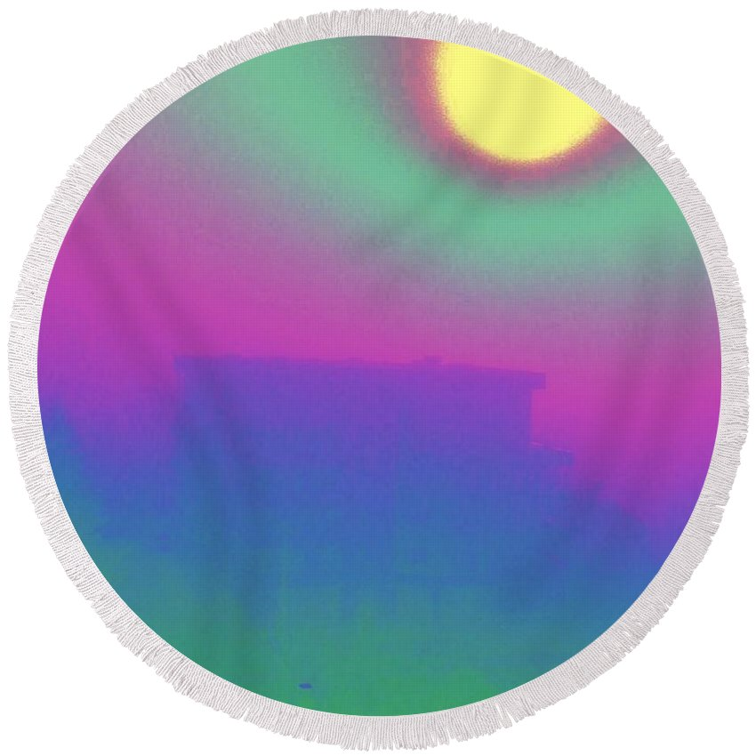 Abstract Round Beach Towel featuring the digital art Foggy Day by Tim Allen
