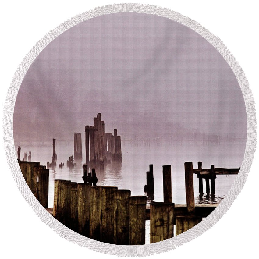 Clay Round Beach Towel featuring the photograph Foggy Morn by Clayton Bruster