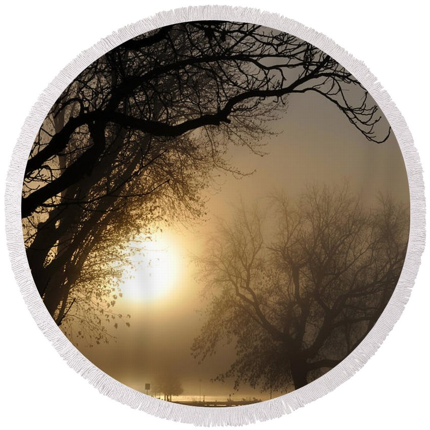 Foggy Round Beach Towel featuring the photograph Foggy Morn by Tim Nyberg