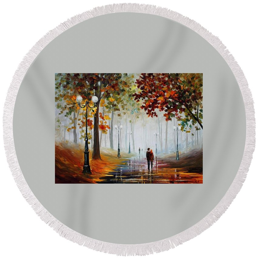 Afremov Round Beach Towel featuring the painting Foggy Morning by Leonid Afremov