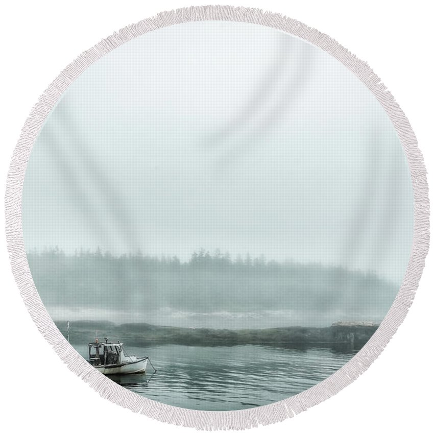 Acadia Round Beach Towel featuring the photograph Foggy Morning On Schoodic by Gestalt Imagery